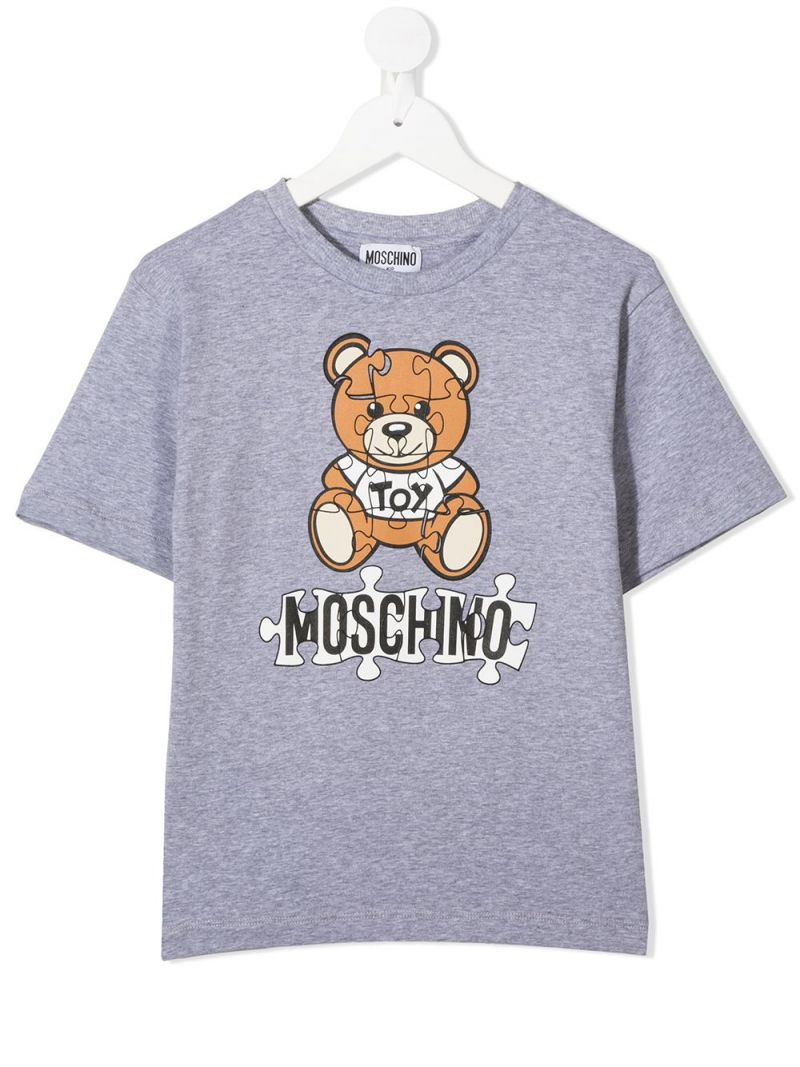 MOSCHINO KIDS: Puzzle Teddy Bear print cotton t-shirt Color Grey_1