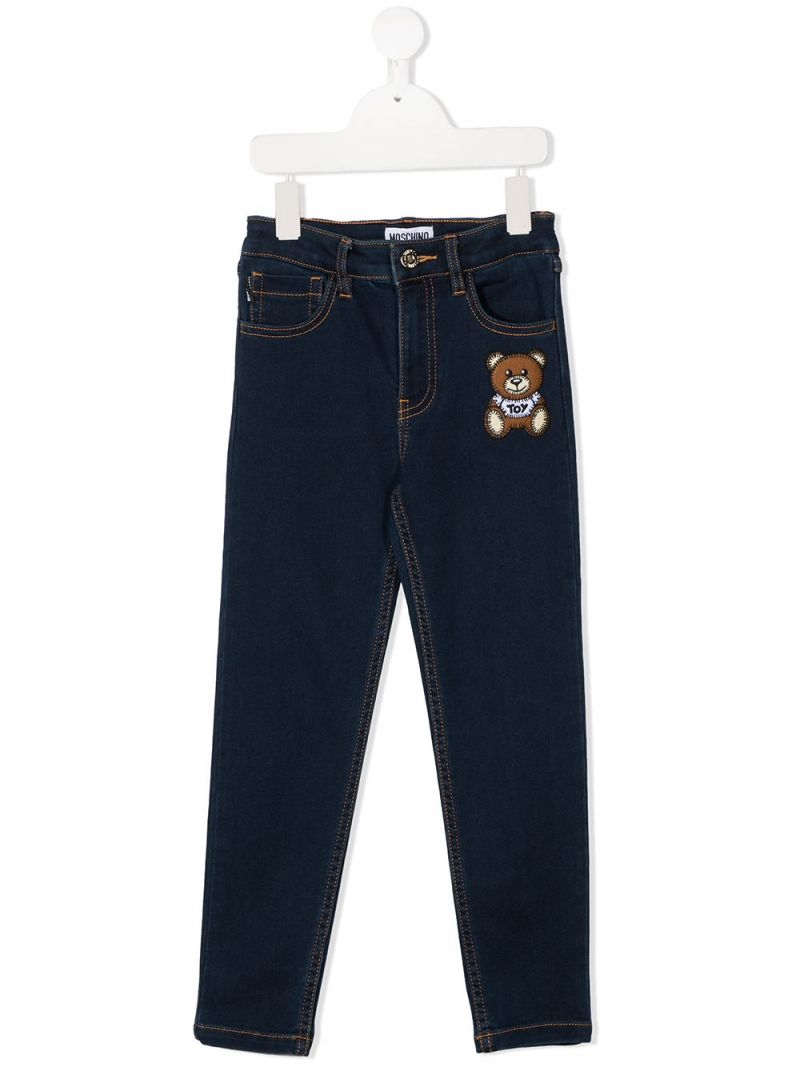 MOSCHINO KIDS: jeans skinny patch Moschino Teddy Bear Colore Blu_1