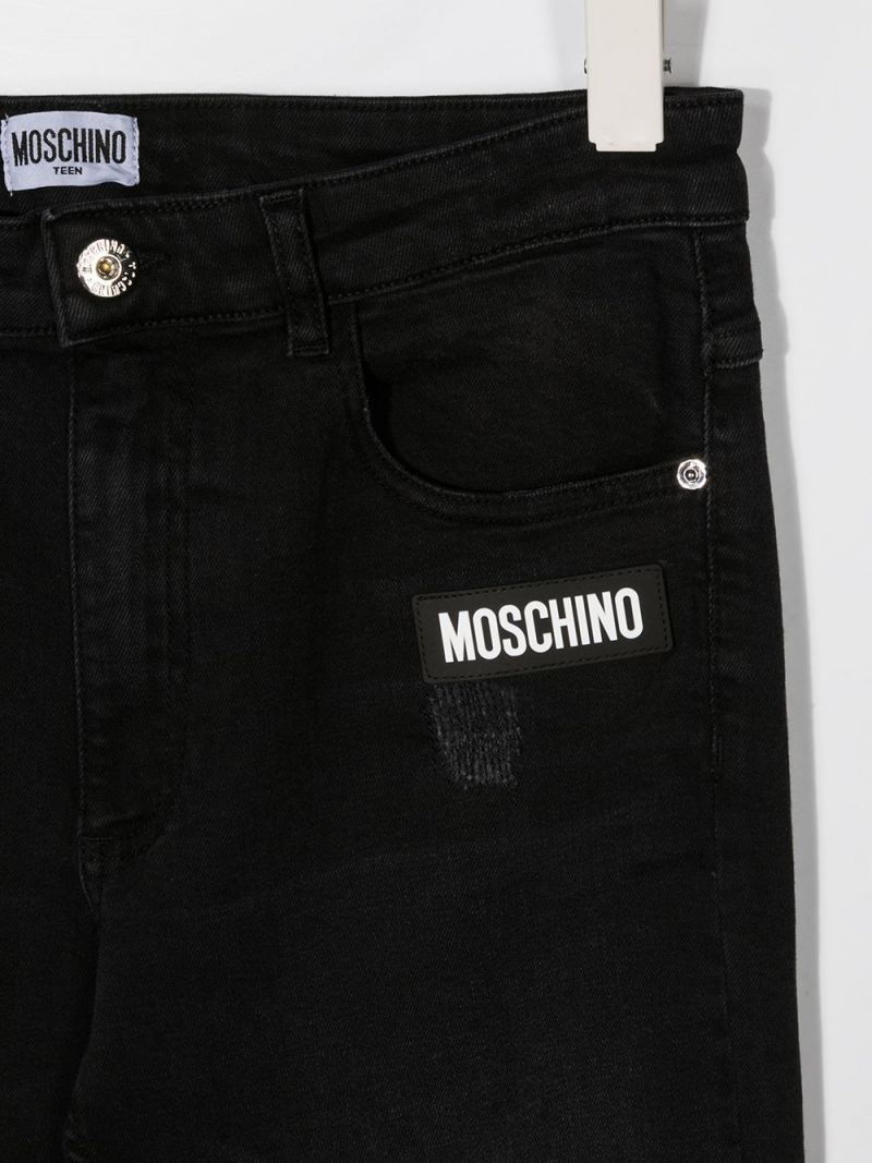 MOSCHINO KIDS: jeans skinny patch logo Colore Nero_2