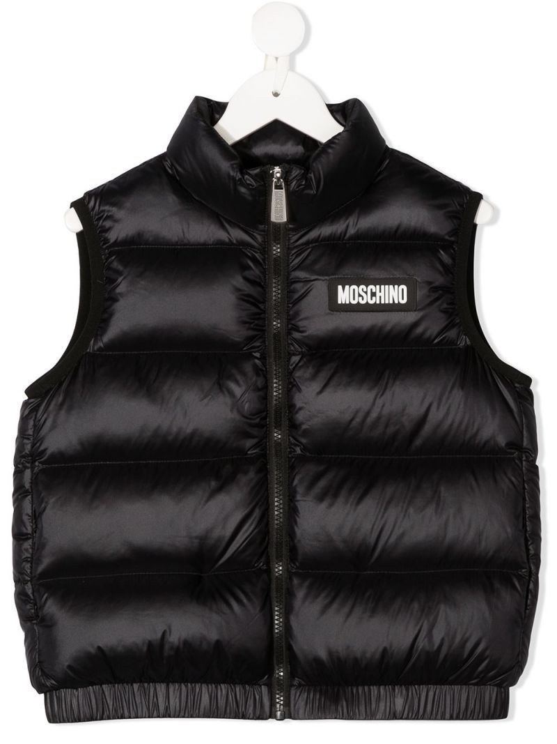 MOSCHINO KIDS: logo print sleeveless nylon down jacket Color Black_1