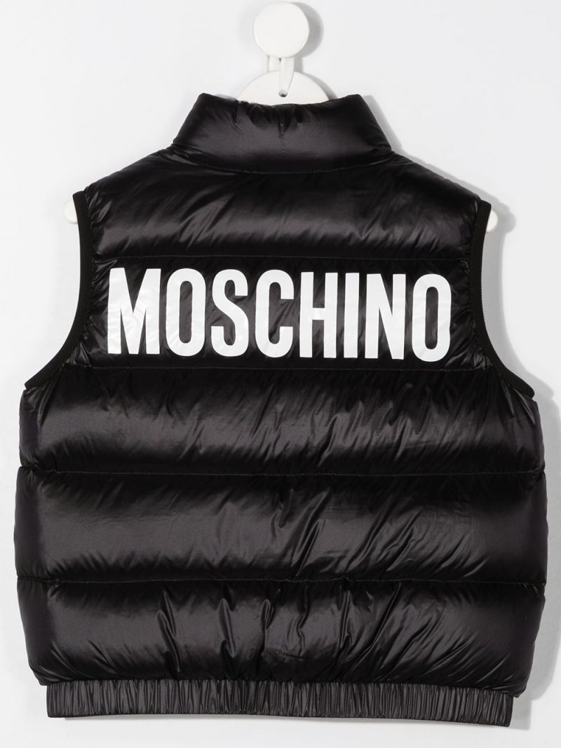 MOSCHINO KIDS: logo print sleeveless nylon down jacket Color Black_2