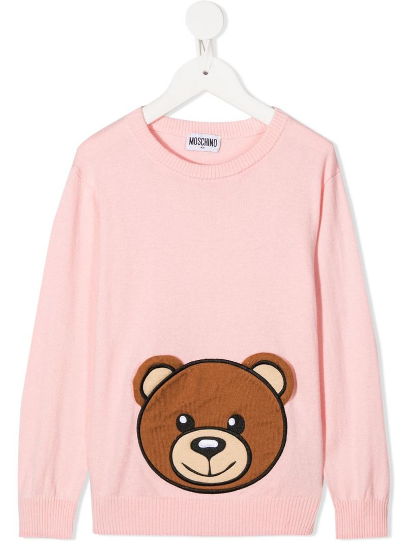 MOSCHINO KIDS: Teddy Bear cotton wool blend pullover Color Pink_1