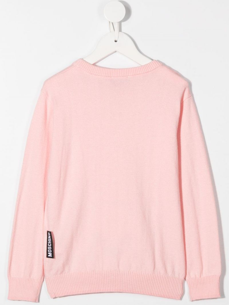 MOSCHINO KIDS: Teddy Bear cotton wool blend pullover Color Pink_2
