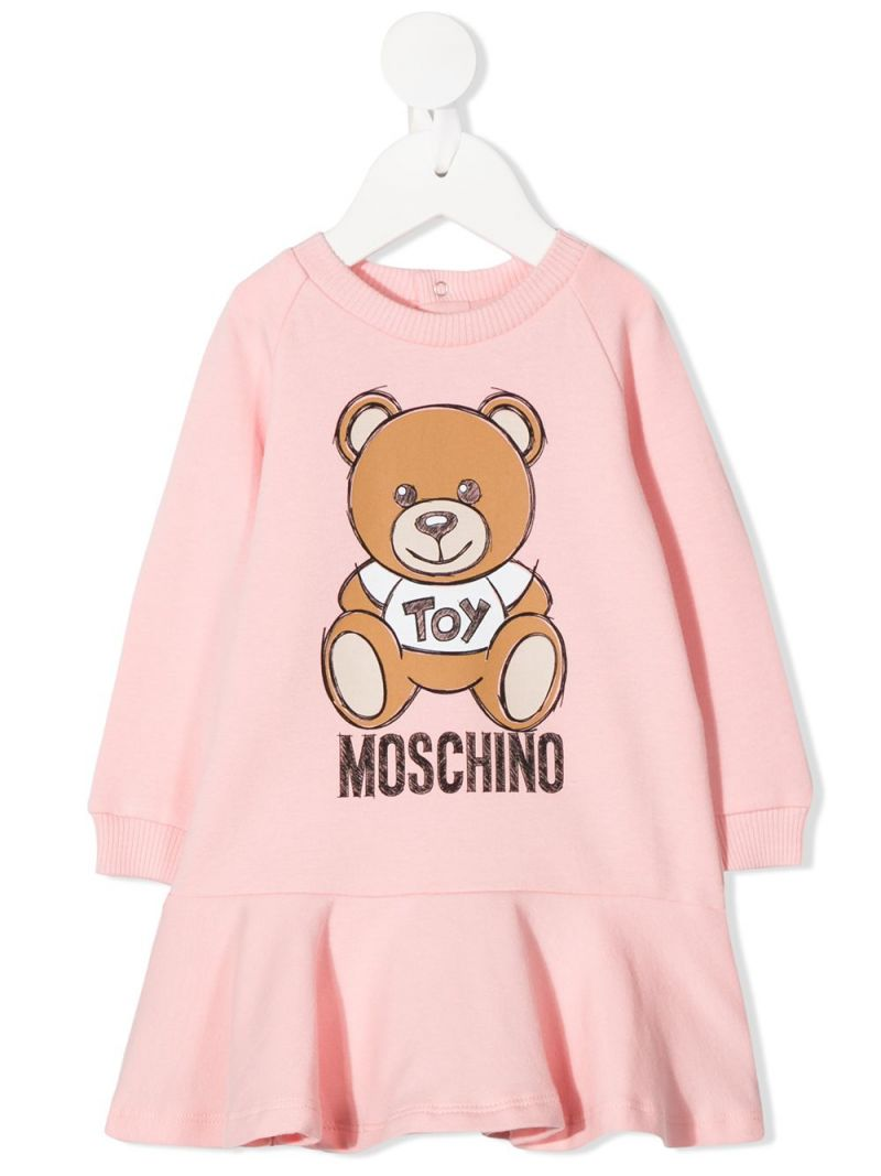 MOSCHINO KIDS: Moschino Teddy Bear print stretch cotton dress Color White_1
