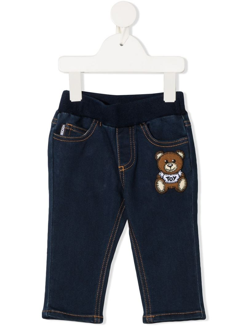 MOSCHINO KIDS: jeans in misto cotone stampa Moschino Teddy Bear Colore Blu_1