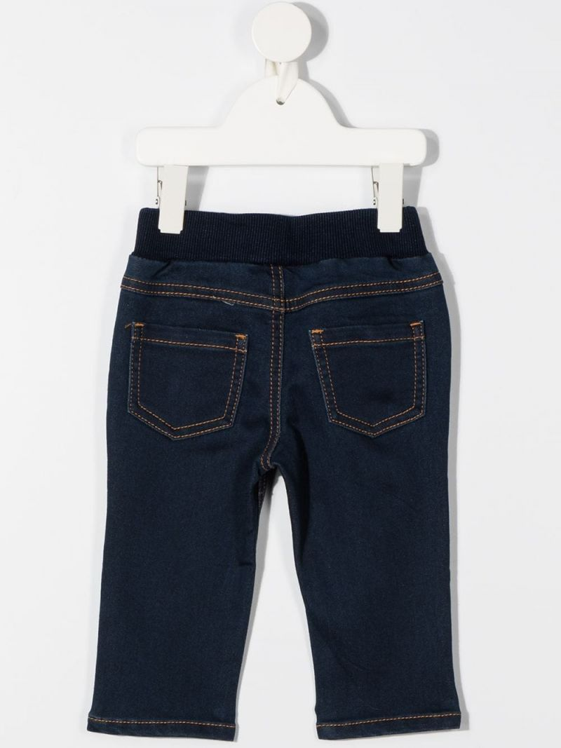 MOSCHINO KIDS: jeans in misto cotone stampa Moschino Teddy Bear Colore Blu_2