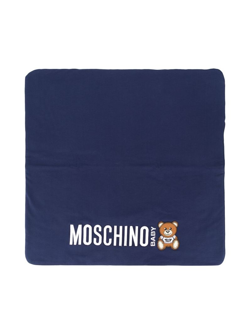 MOSCHINO KIDS: Moschino Baby print cotton blend blanket Color Blue_1