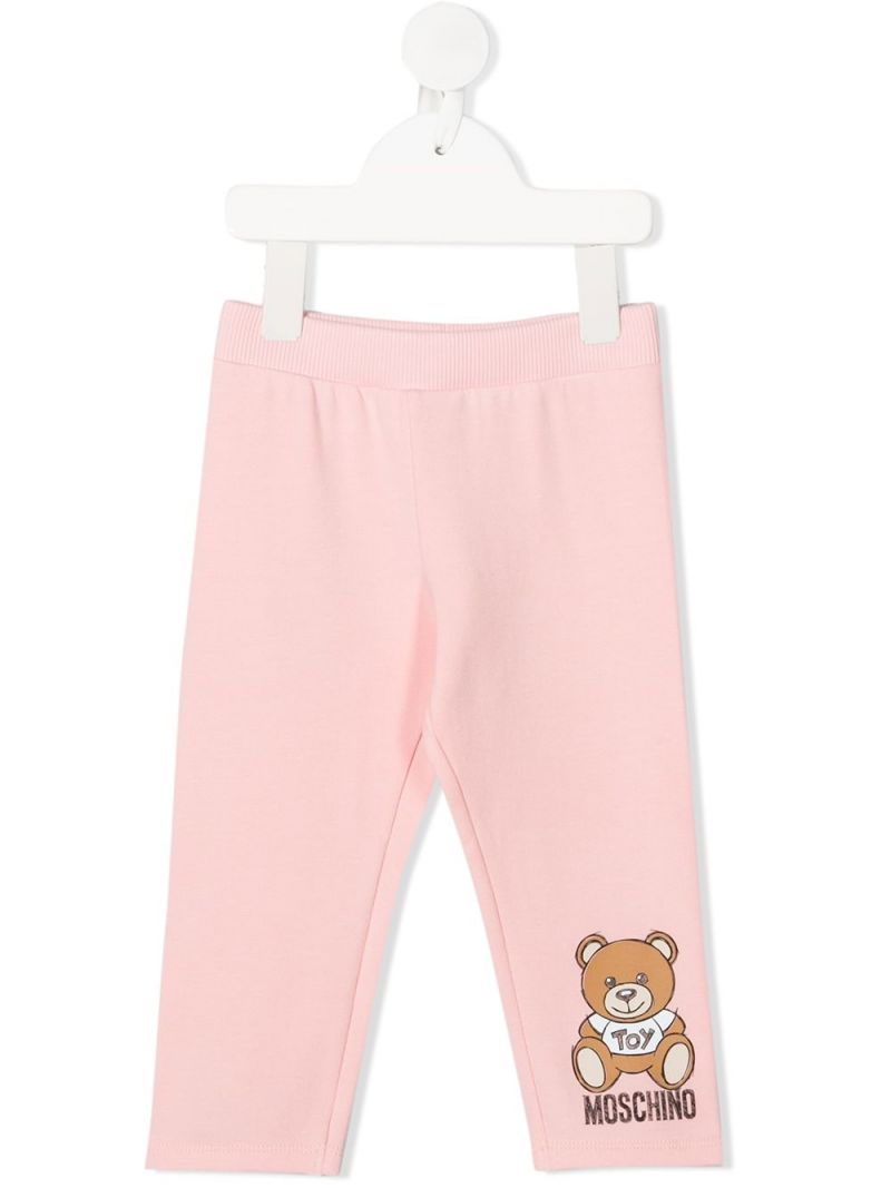 MOSCHINO KIDS: Moschino Teddy Bear print stretch cotton leggings Color Pink_1