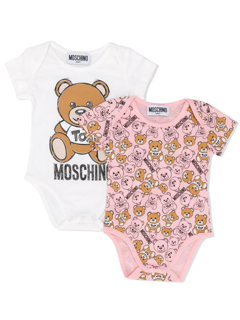 MOSCHINO KIDS: cotton two-playsuits set Color Pink_1