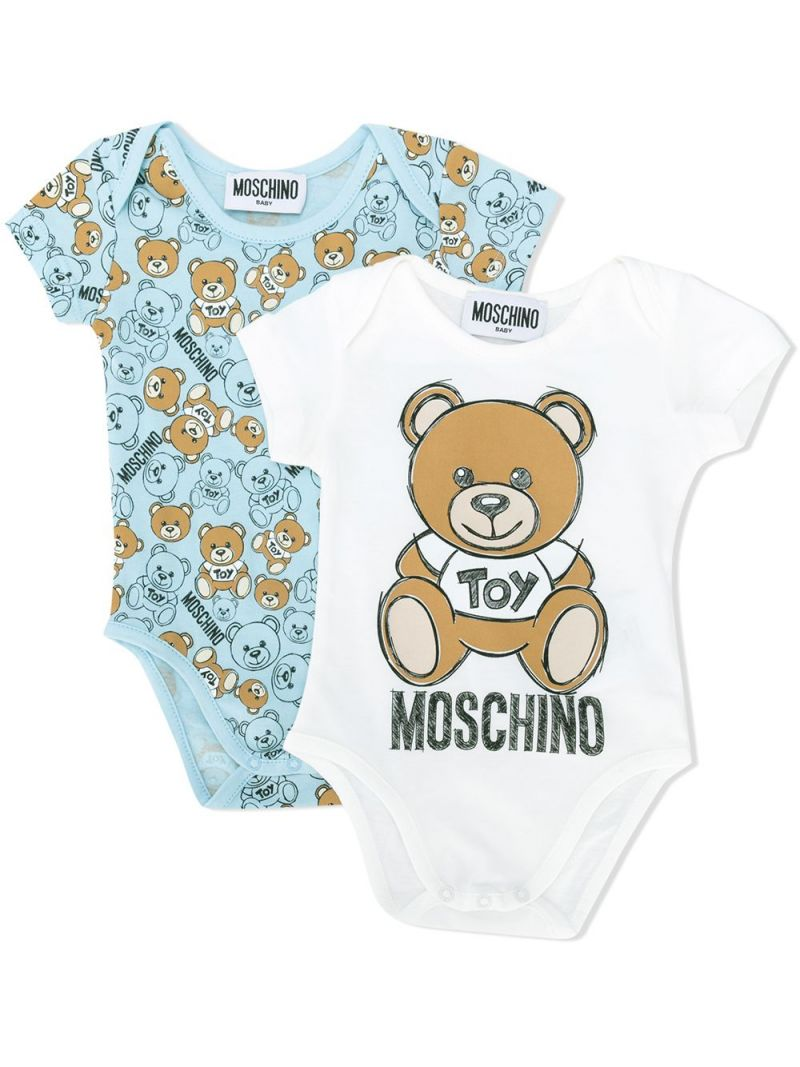 MOSCHINO KIDS: cotton two-playsuits set Color Blue_1