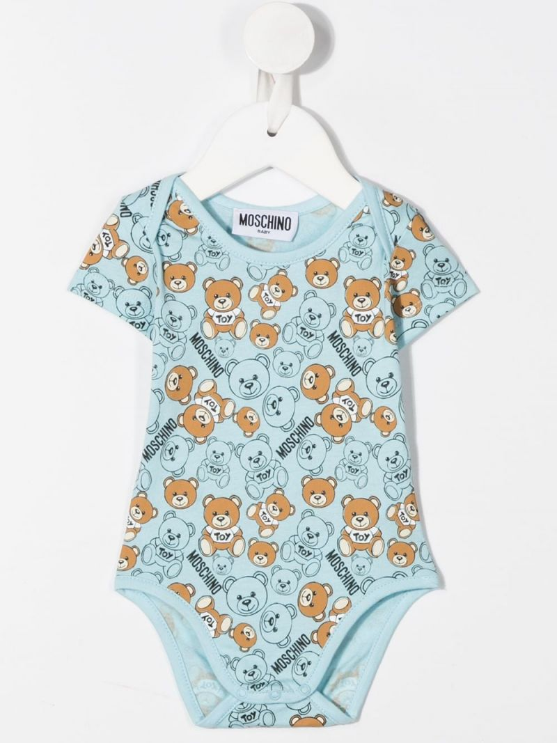 MOSCHINO KIDS: cotton two-playsuits set Color Blue_2