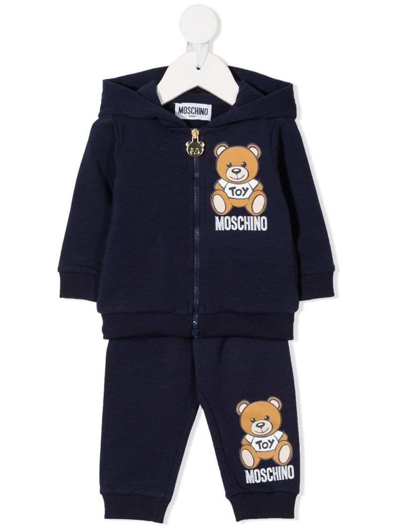 MOSCHINO KIDS: Moschino Teddy Bear patch stretch cotton tracksuit Color Blue_1