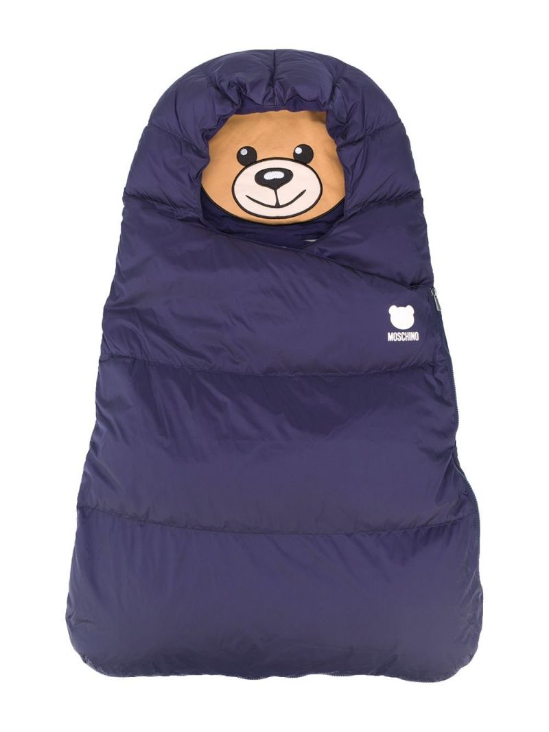 MOSCHINO KIDS: Moschino Teddy Bear padded nylon sleeping bag Color Blue_1