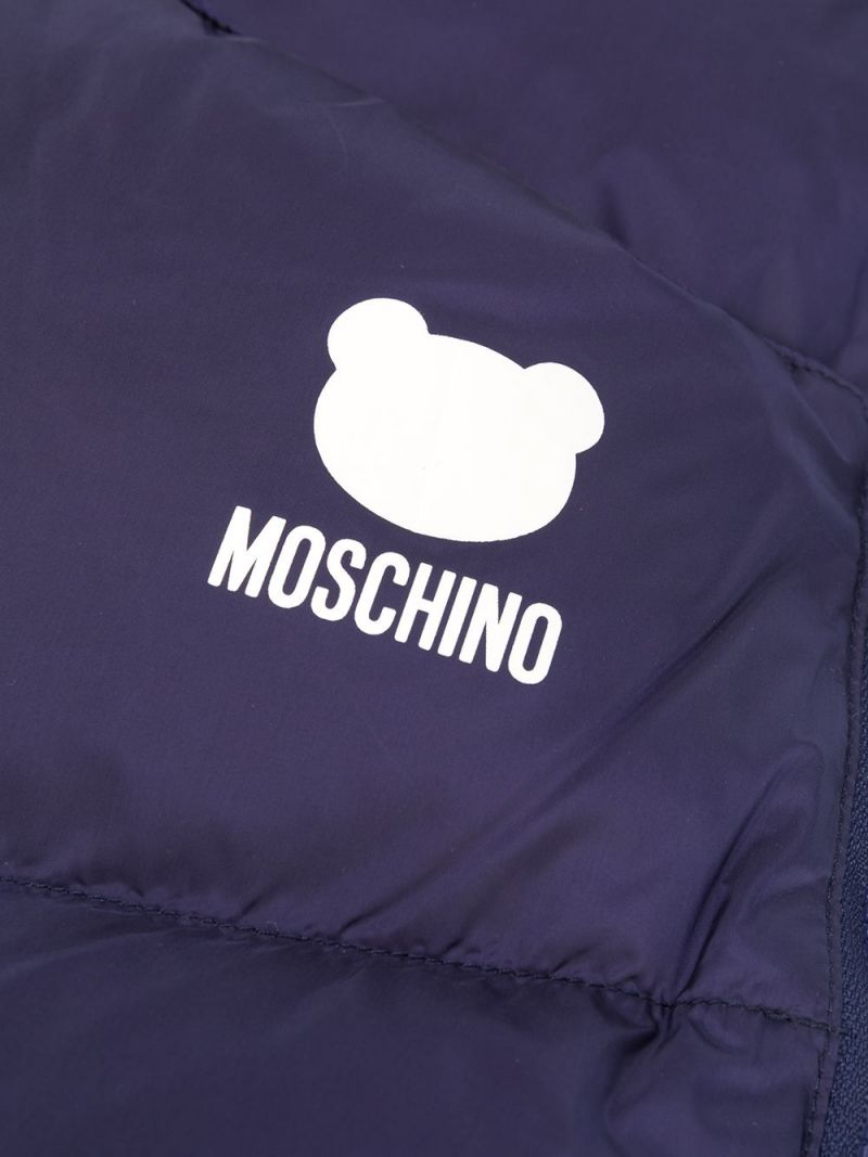 MOSCHINO KIDS: Moschino Teddy Bear padded nylon sleeping bag Color Blue_2