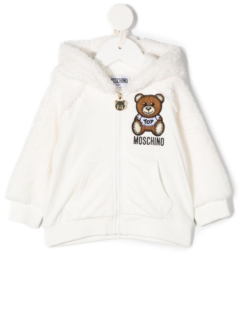 MOSCHINO KIDS: jersey and fleece full-zip hoodie Color Grey_1