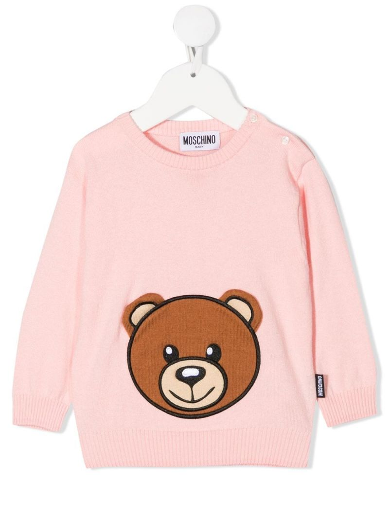 MOSCHINO KIDS: Teddy Bear patch cotton wool blend pullover Color Pink_1