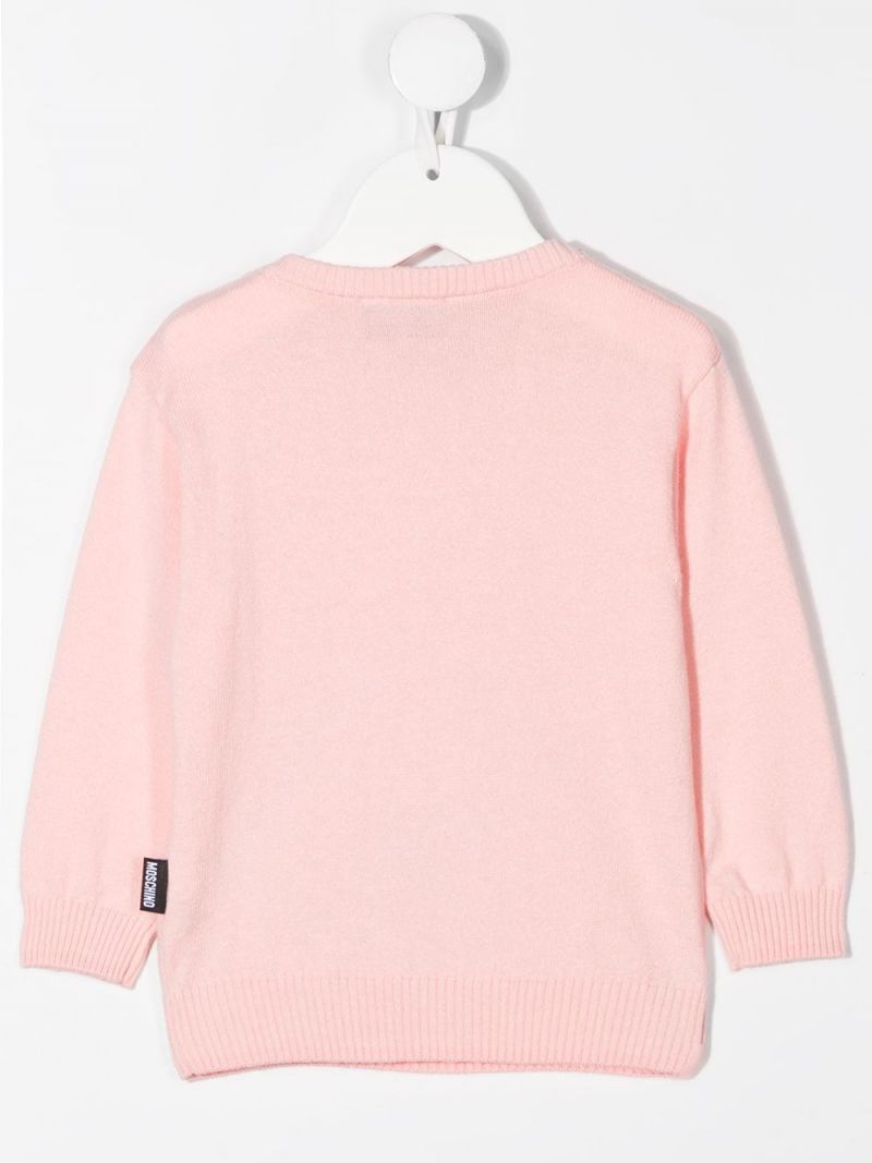 MOSCHINO KIDS: Teddy Bear patch cotton wool blend pullover Color Pink_2