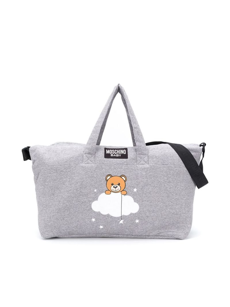 MOSCHINO KIDS: Cloud Teddy Bear print cotton changing bag Color Grey_1