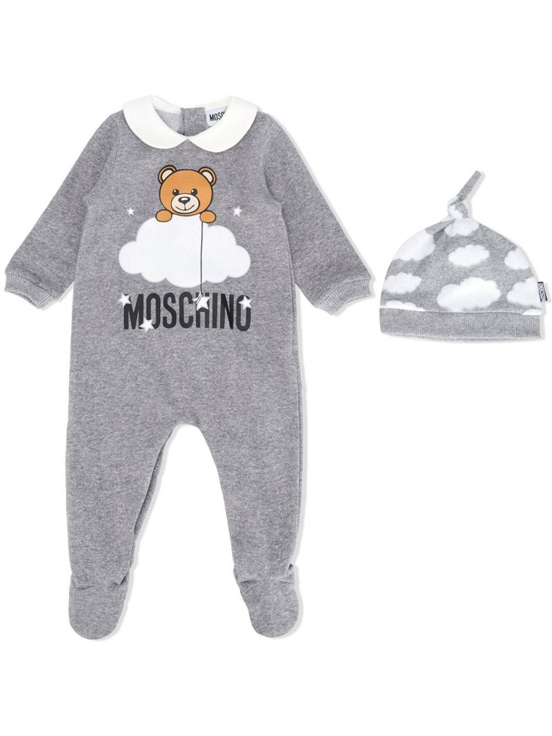 MOSCHINO KIDS: cotton babygrow and beanie set Color Grey_1