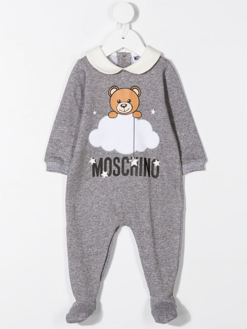 MOSCHINO KIDS: cotton babygrow and beanie set Color Grey_2