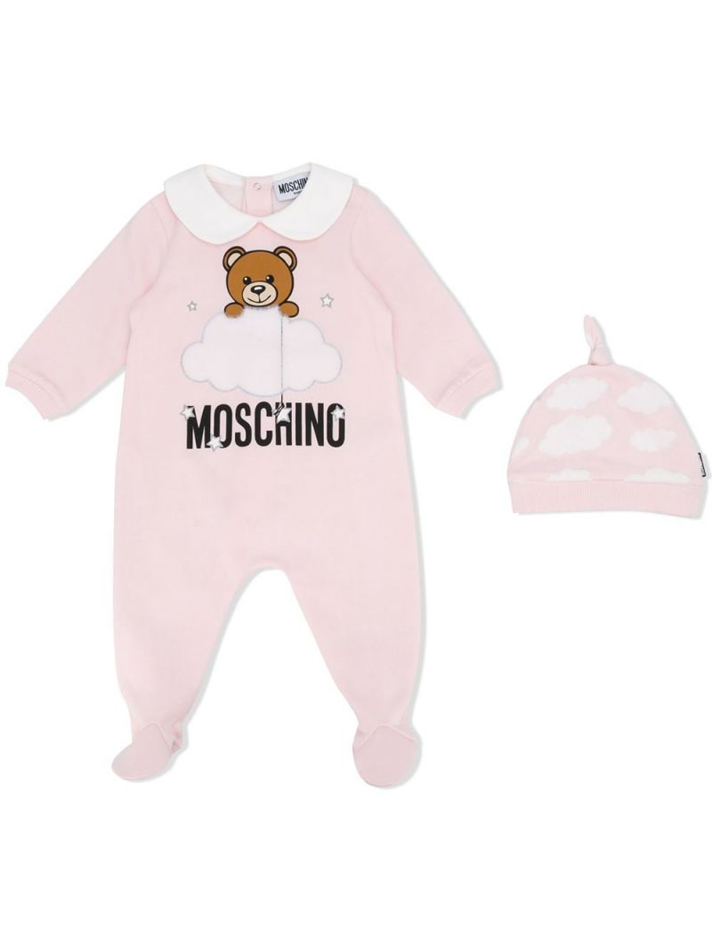 MOSCHINO KIDS: cotton babygrow and beanie set Color Pink_1