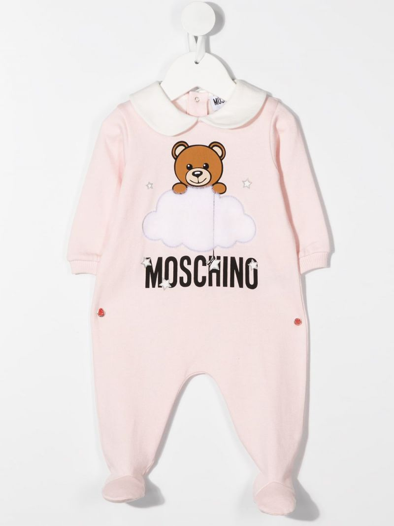 MOSCHINO KIDS: cotton babygrow and beanie set Color Pink_2