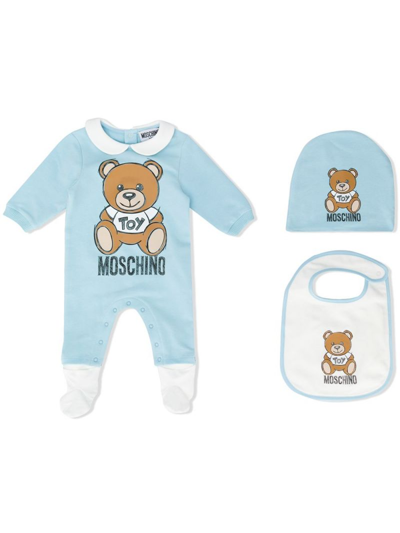 MOSCHINO KIDS: cotton blend babygrow, beanie and bib Color Blue_1