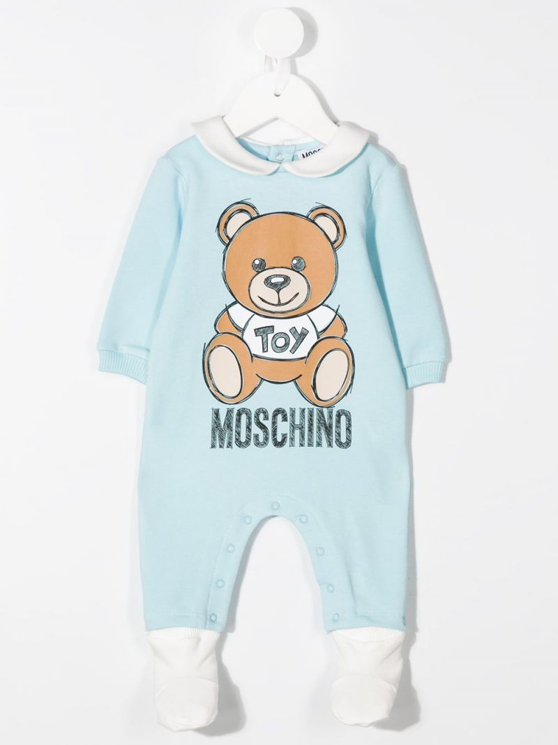 MOSCHINO KIDS: cotton blend babygrow, beanie and bib Color Blue_2