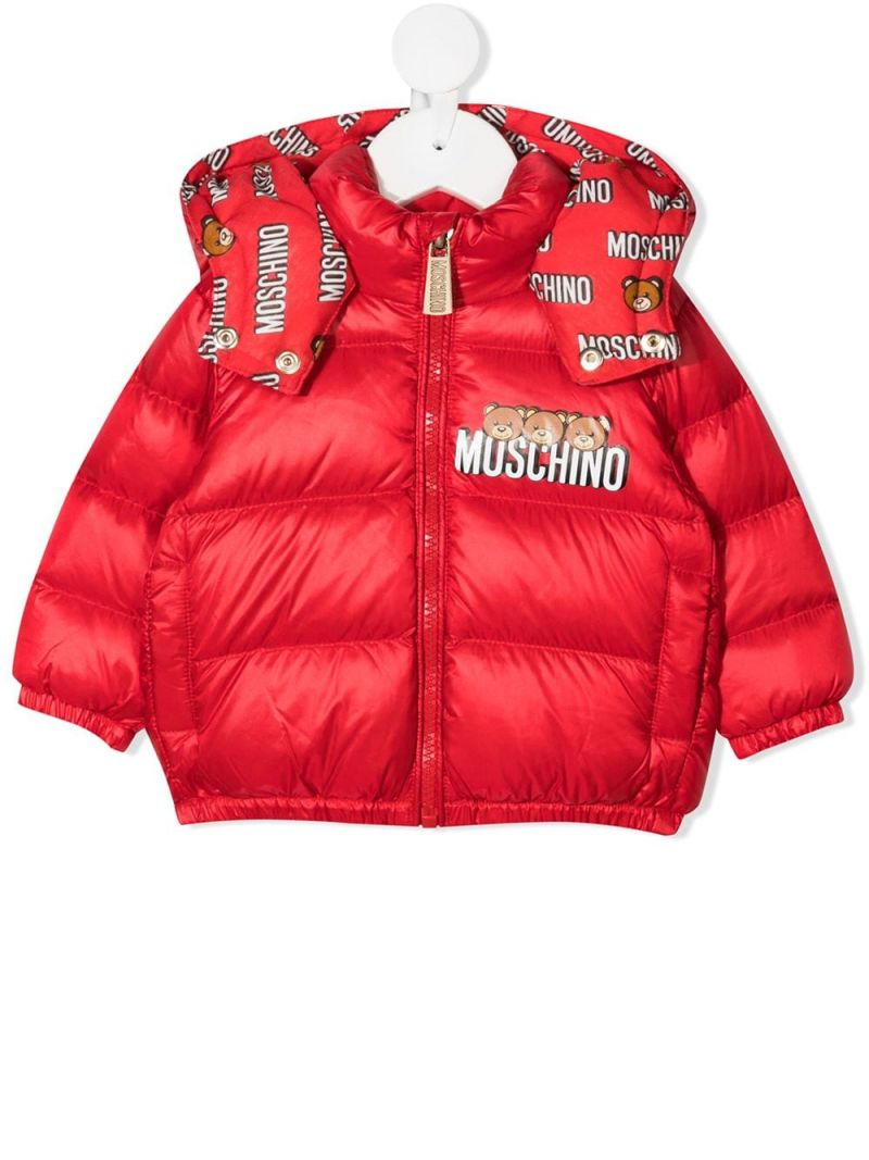 MOSCHINO KIDS: logo print nylon down jacket Color Red_1