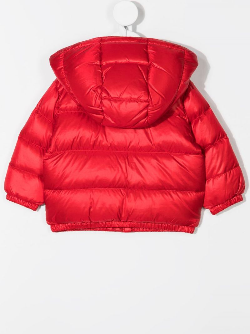 MOSCHINO KIDS: logo print nylon down jacket Color Red_2