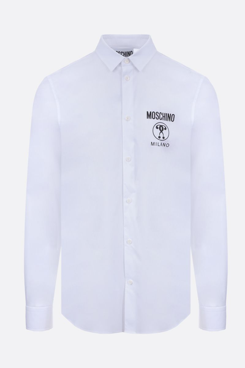 MOSCHINO: Double Question Mark print stretch cotton shirt Color White_1