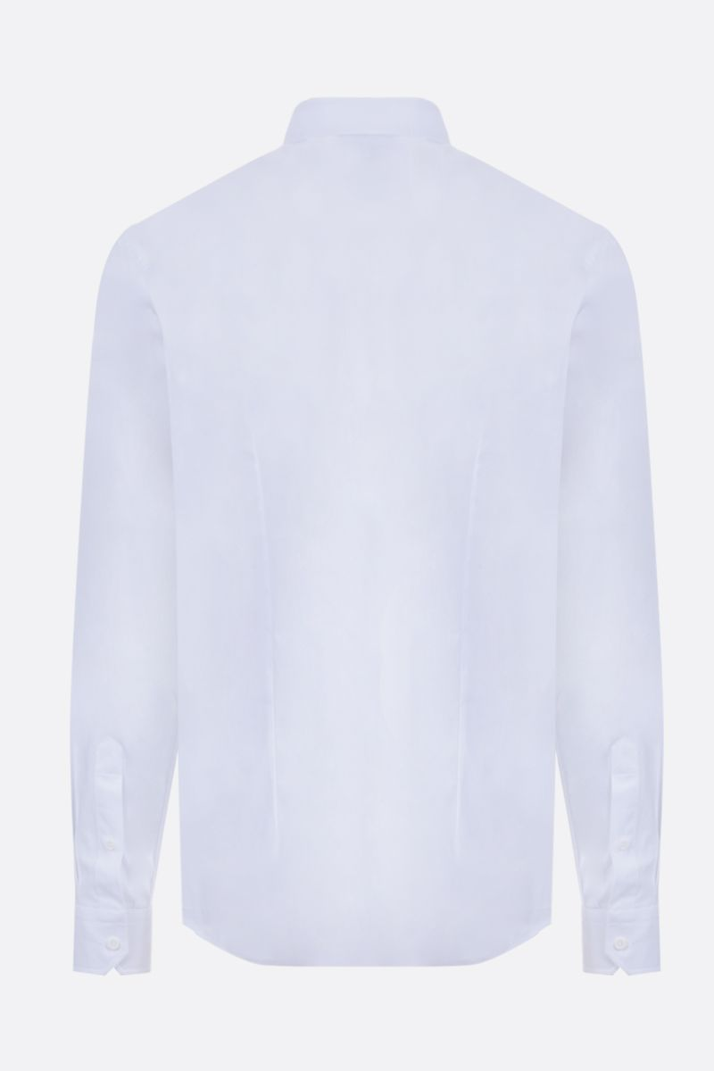 MOSCHINO: Double Question Mark print stretch cotton shirt Color White_2