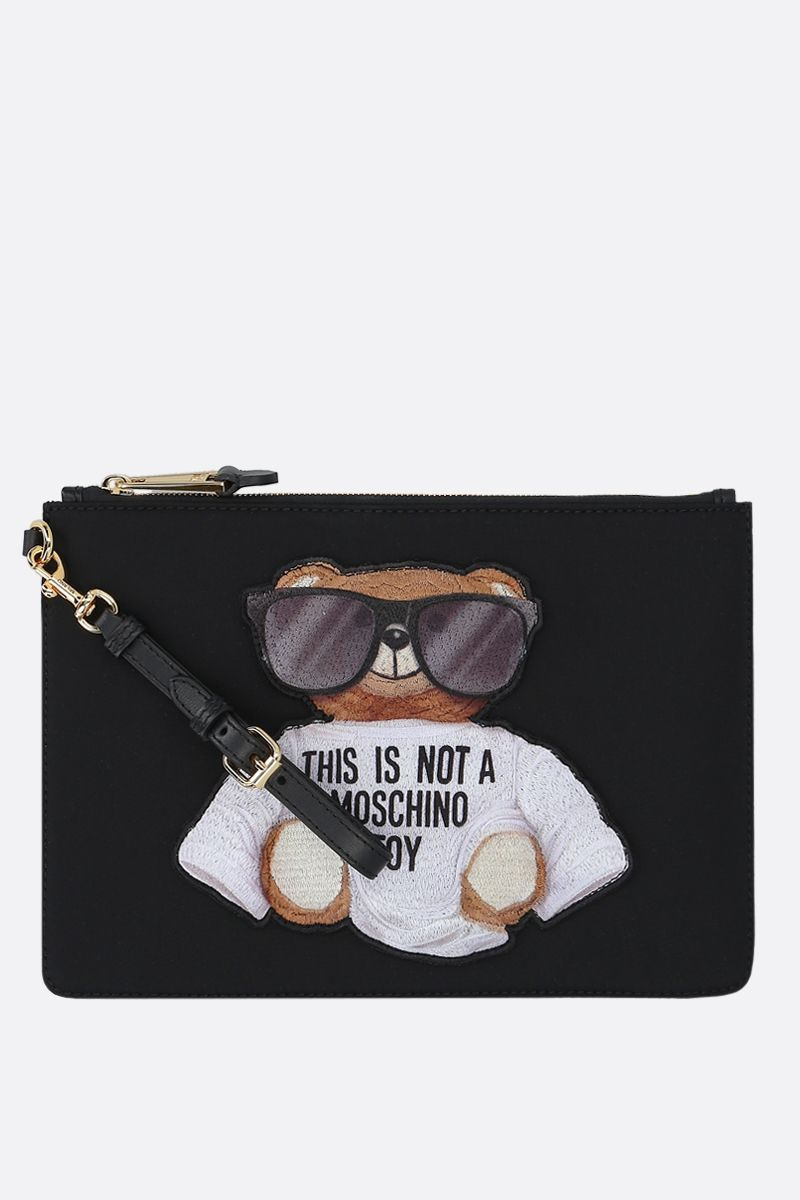 MOSCHINO: Micro Teddy Bear nylon clutch Color Black_1