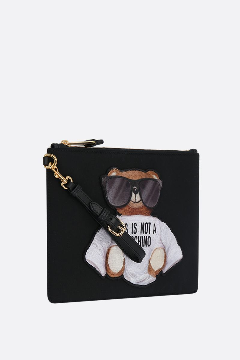 MOSCHINO: Micro Teddy Bear nylon clutch Color Black_2