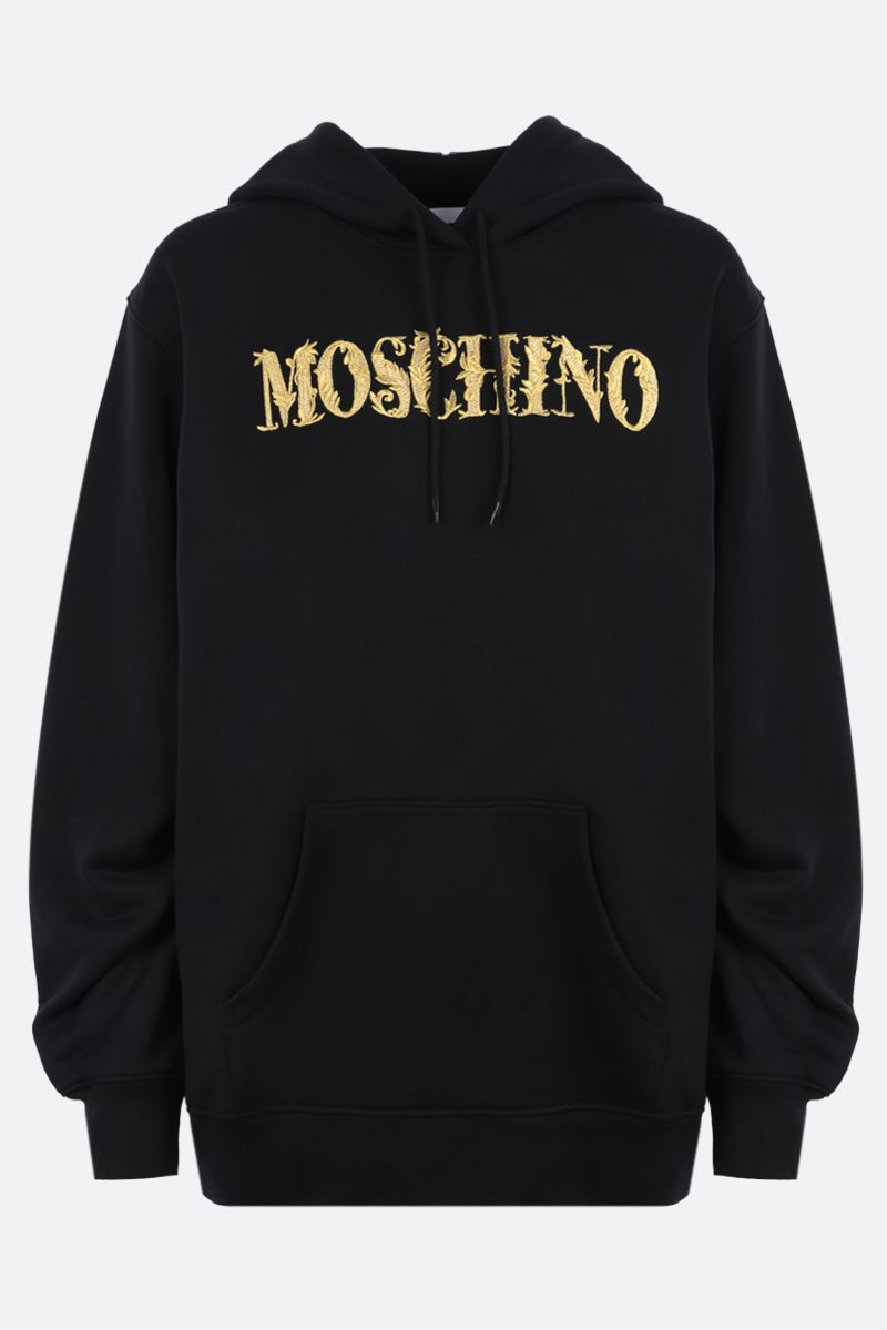 MOSCHINO: Moschino embroidered cotton hoodie Color Black_1