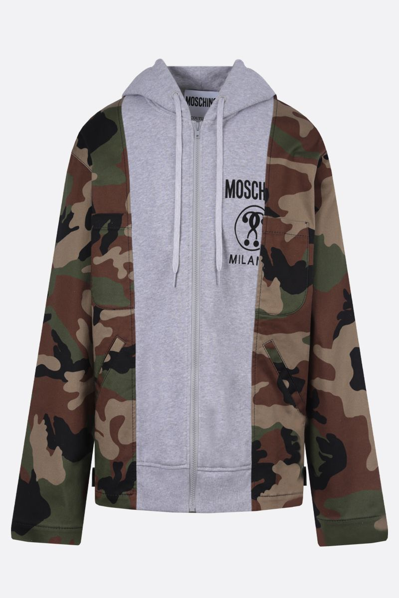 MOSCHINO: camouflage insert-detailed stretch cotton hoodie Color Grey_1