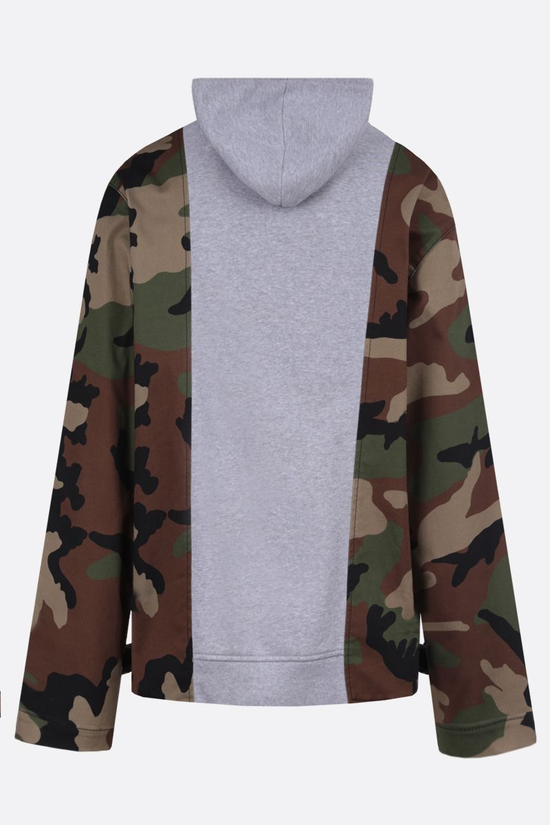 MOSCHINO: camouflage insert-detailed stretch cotton hoodie Color Grey_2