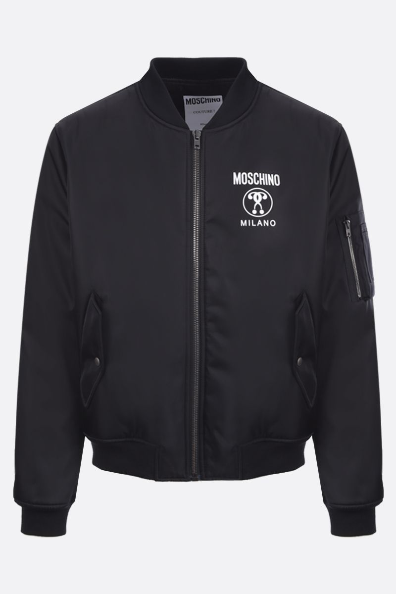 MOSCHINO: bomber imbottito in nylon stampa Double Question Mark Colore Nero_1