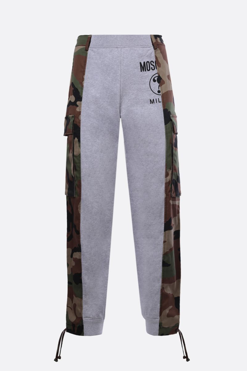 MOSCHINO: camouflage insert-detailed stretch cotton joggers_1