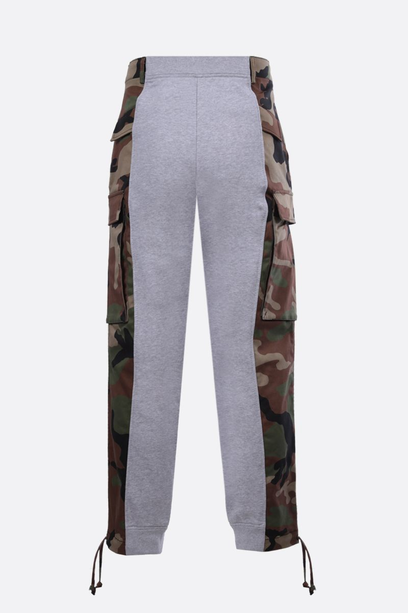 MOSCHINO: camouflage insert-detailed stretch cotton joggers_2