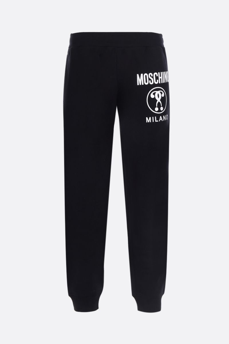 MOSCHINO: Double Question Mark print cotton joggers Color Black_1