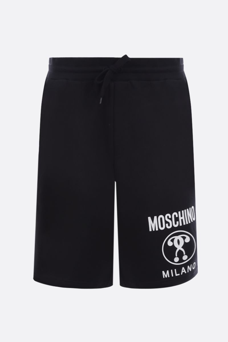 MOSCHINO: Double Question Mark print cotton shorts Color Black_1