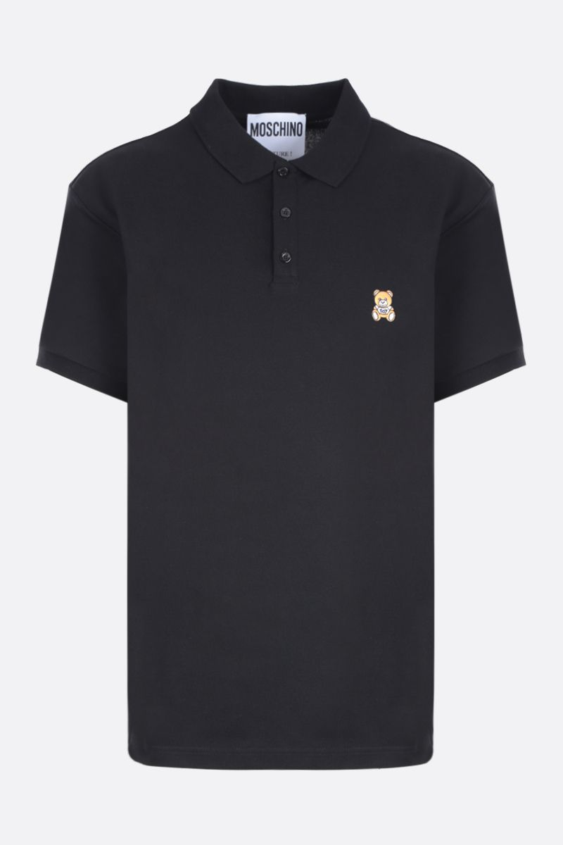 MOSCHINO: polo in cotone patchToy Bear Colore Nero_1