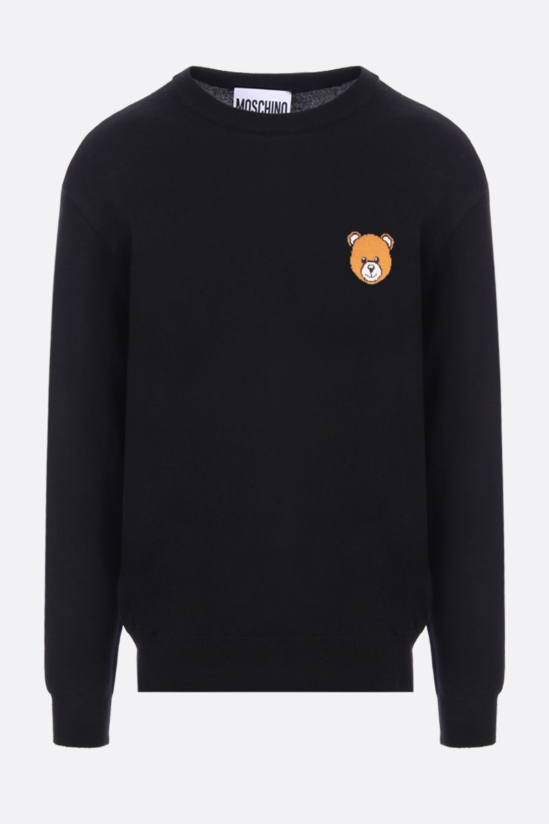 MOSCHINO: Moschino Teddy Bear intarsia wool cotton blend pullover Color Black_1