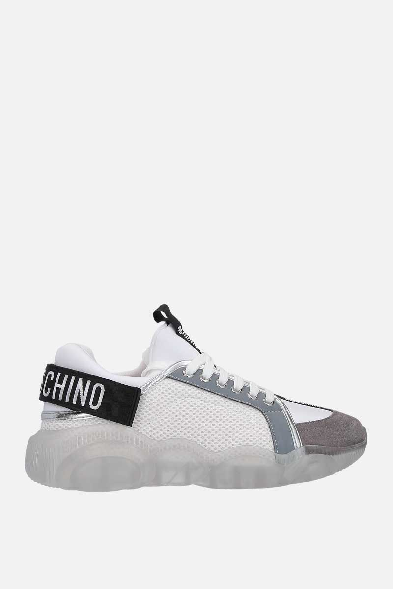 MOSCHINO: Teddy mesh, neoprene and suede sneakers Color White_1
