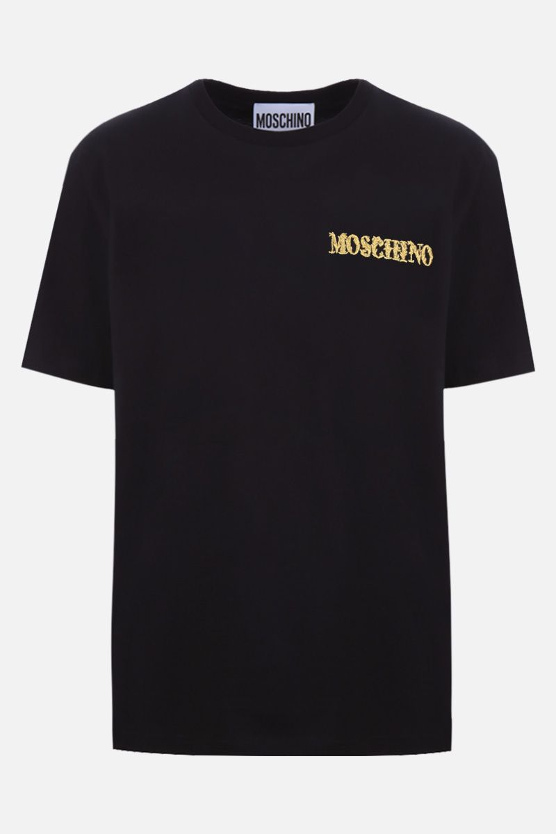 MOSCHINO: Moschino embroidered cotton t-shirt Color Black_1