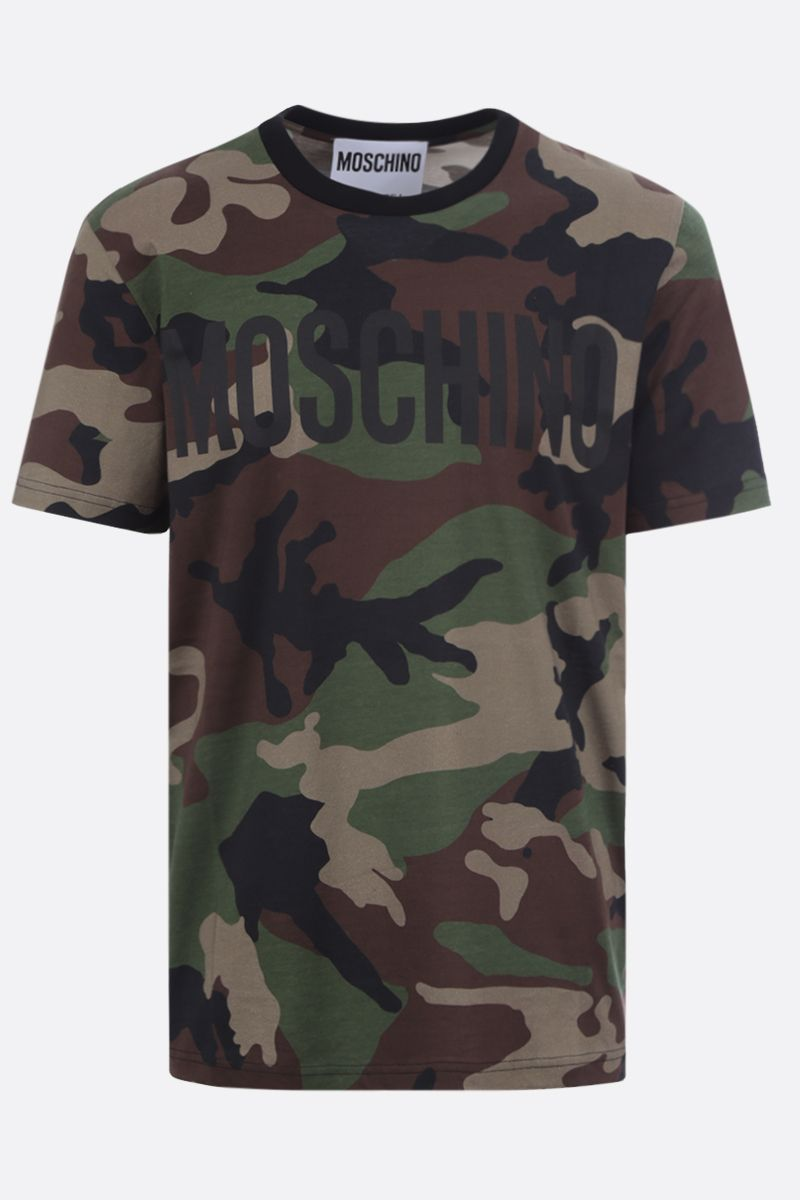 MOSCHINO: t-shirt in cotone stampa camouflage Colore Verde_1