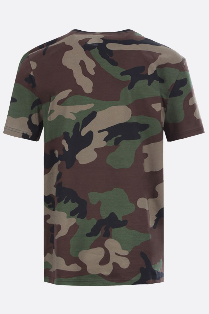 MOSCHINO: t-shirt in cotone stampa camouflage Colore Verde_2