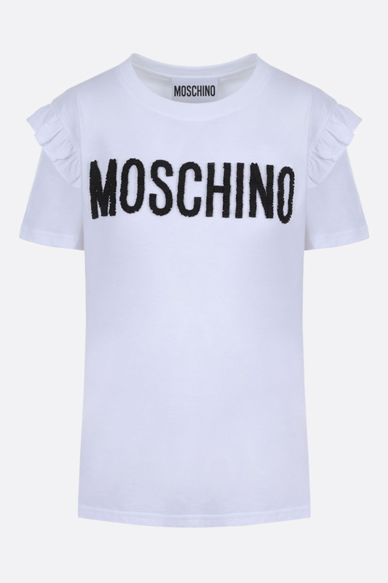 MOSCHINO: Moschino embroidered cotton t-shirt Color Grey_1