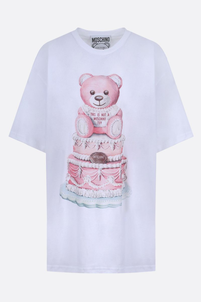 MOSCHINO: t-shirt oversize in cotone stampa Cake Teddy Bear Colore Multicolore_1